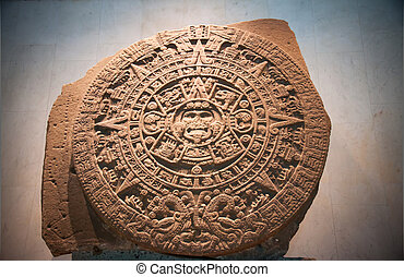 Aztec Sun Calendar. The Aztec calendar stone is a large...