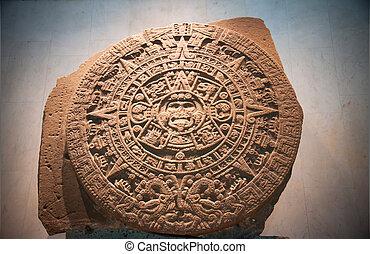 azteca, sol, calendario