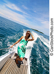 Boat trip - Woman on a luxury yacht