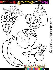 cartoon fruits set for coloring book