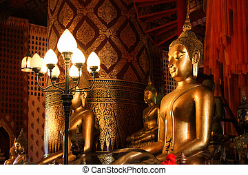 Big Golden Buddha Statue at the temple in Ayutthaya, Thailand