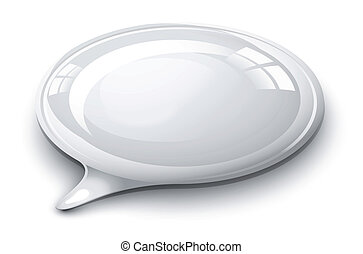 Speech bubble white and glossy illustration
