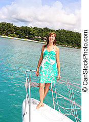 boat trip - Woman on a luxury yacht cruise.