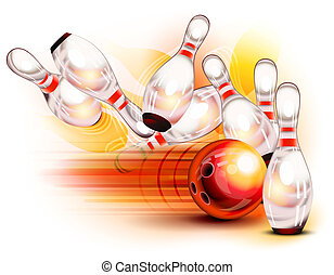 Bowling ball crashing into the pins - A red bowling ball...