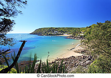 Salcombe Beach Devon England - Salcombe ria estuary insouth...