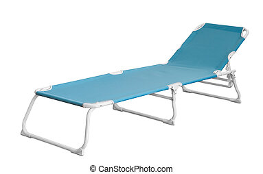 Camp cot - Blue camp cot isolated on white