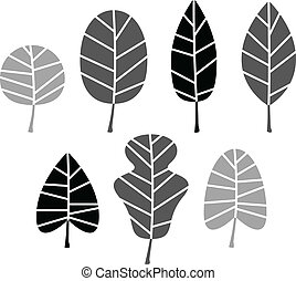 Black Leaves silhouette set isolated on white. Vector -...