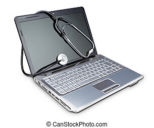 Stethoscope on a modern laptop to diagnose. On a white...