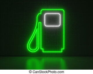 Gasoline Pump - Series Neon Signs - A green and white Neon...