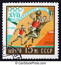 Postage stamp Russia 1960 Basketball, Olympic Games, Rome 60...