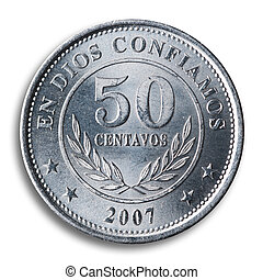 Nicaraguan coin, white background - Nicaraguan coin, white...