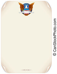 Old Scroll with American Eagle Vector Background - Ancient...