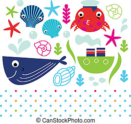 Cute sea animals set isolated on white