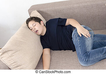 I Love To Sleep - Stock photo of a boy that is deeply asleep