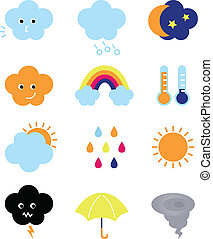 Weather cast cute elements set isolated on white - Weather...