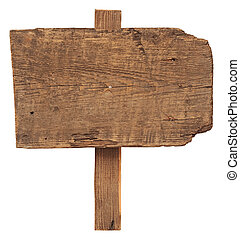 close up of an empty wooden sign isolated on white...