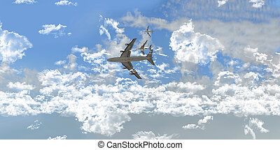 Airplanes Between white clouds over sky