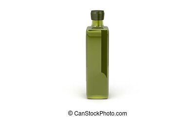Olive oil bottle rotates on white background