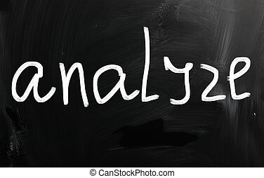 """Analyze"" handwritten with white chalk on a blackboard"