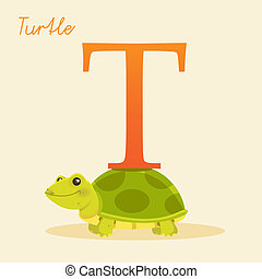Animal alphabet with turtle