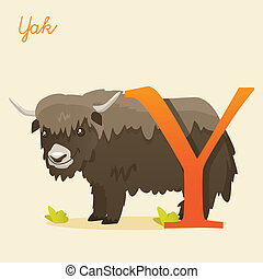 Animal alphabet with yak