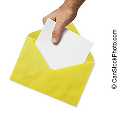 yellow envelope and hand