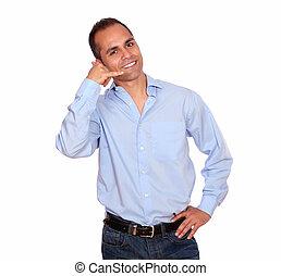 Charming adult man saying call me