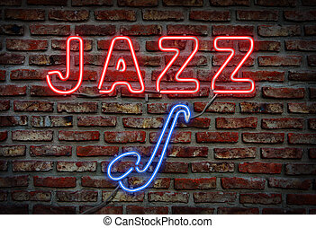 Jazz neon sign. - Glowing neon jazz sing on a brick wall.