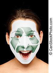 girl with recycling symbol on her face