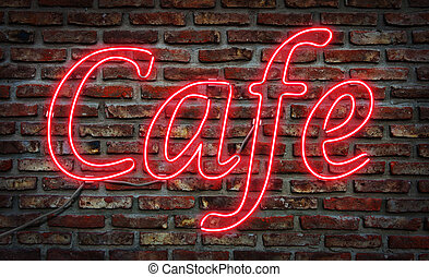 Neon Cafe  sign. - Glowing neon Cafe sing on a brick wall.