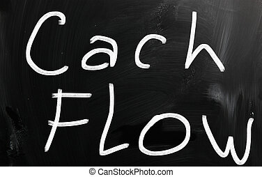 """Cash flow"" handwritten with white chalk on a blackboard"