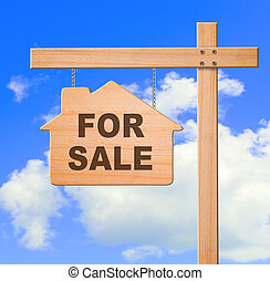 Real estate sign sky background, clipping path.