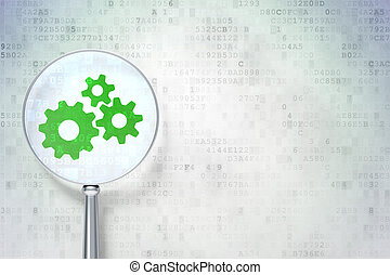 Magnifying optical glass with Gears icon on digital...