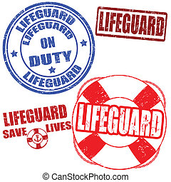 Lifeguard stamps - Set of grunge lifeguard rubber stamps,...
