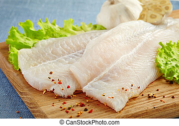 fresh raw fish fillet - fresh raw pangasius fish fillet on...