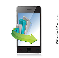 business graph phone illustration design over a white...