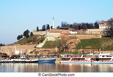 Belgrade urban view - fortress over danube river in center...