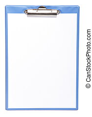 Blue clipboard with blank paper isolated on white - Blue...