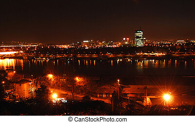 Belgrade night view - cityscape of night illuminated...