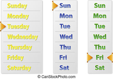 Set Abstract Weekly Calendars With