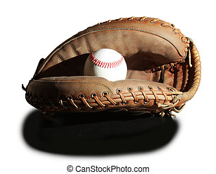 Baseball and catchers mitt isolated on a white background