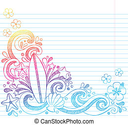 Surfboard Summer Beach Doodle - Surfboard Tropical Beach...