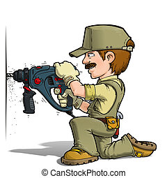 Handyman - Drilling Khaki - Cartoon illustration of a...
