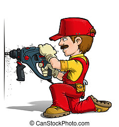Handyman - Drilling Red - Cartoon illustration of a handyman...
