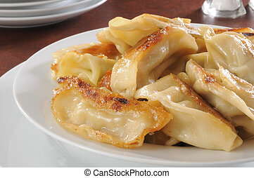 Potstickers - Closeup of a plate of potstickers