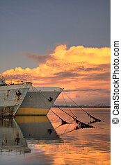 Old tankers in the sunset