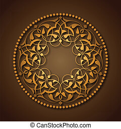Golden Ottoman patterns over brown