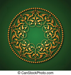 Golden Ottoman patterns over green