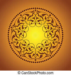 Golden Ottoman patterns over orange