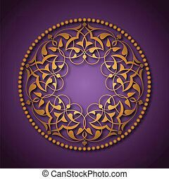 Golden Ottoman patterns over purple